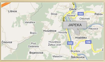 Mapa restaurace Japeka
